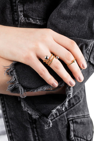 BODY DOUBLE SPIRAL RING - GOLD/SILVER