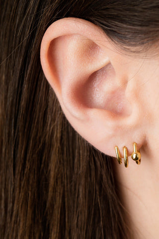ILLUSION TRIPLE EARRING - HIGH POLISHED GOLD