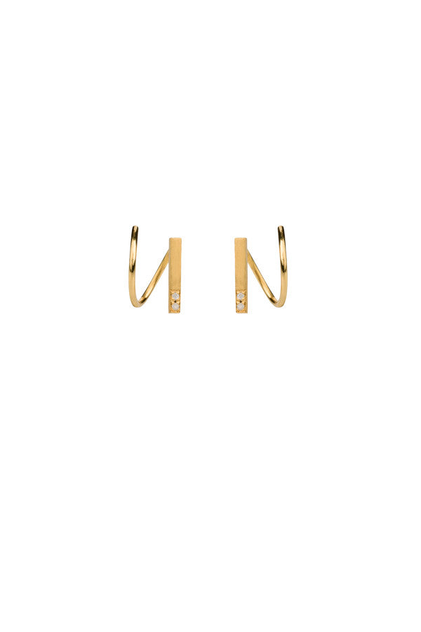 SANAE DIAMOND TWIRL EARRING - GOLD