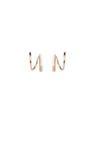 SANAE DIAMOND TWIRL EARRING - ROSE GOLD