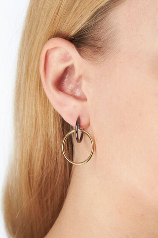 NORMA MEDI HOOP EARRING - GOLD/BLACK