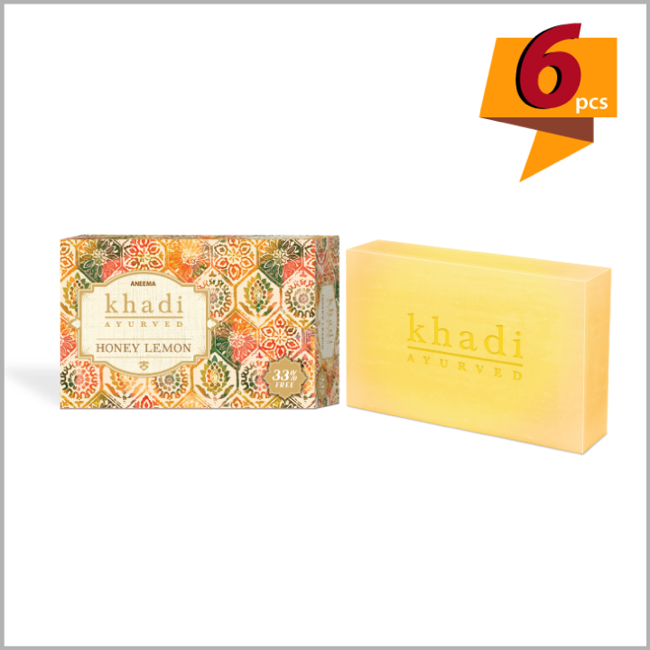 Khadi Honey Lemon Soap For Baby Soft Skin - 100 g (75g + 25g) (set of 6)