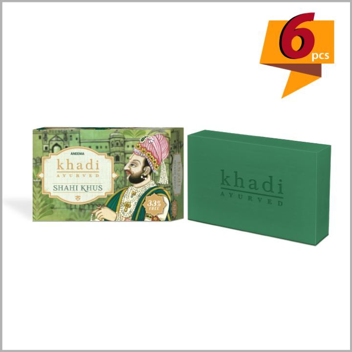 Khadi Shahi Khus Soap for rejuvenation - 100 g (75g + 25g) (set of 6)