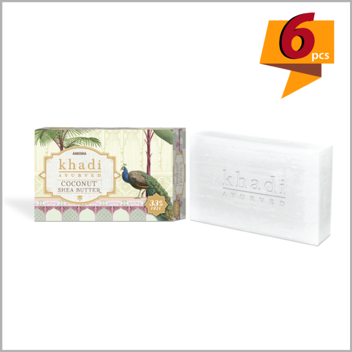 Khadi Coconut Shea Butter Soap For Soft And Glossy Skin - 100 g (75g + 25g) (set of 6)