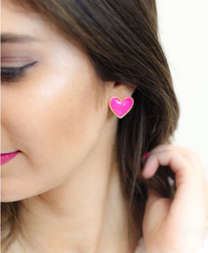 Heart Breaker Stud Earrings-Light Pink