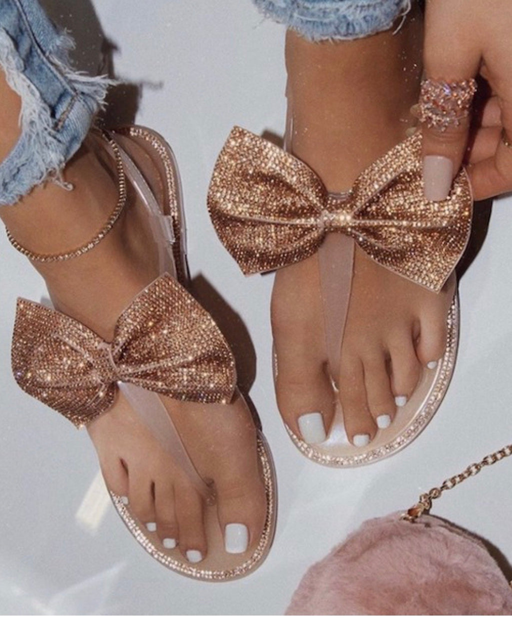 Glitzy Girls Bow Sandals