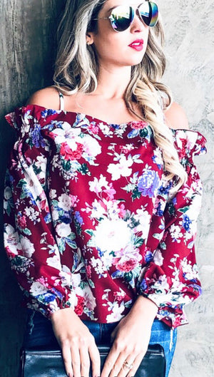 Magic Moments Floral Top, Burgundy