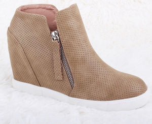 Tan Wedge Sneakers