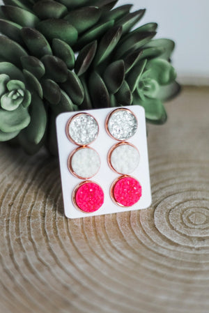 Wednesday We Wear Pink 3PC Druzy Earrings