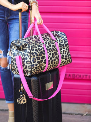 Hot Pink & Leopard Duffel Bag