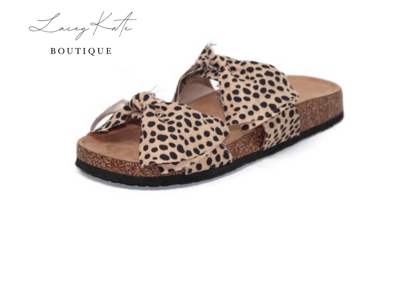 Double Bow Cheetah Sandals