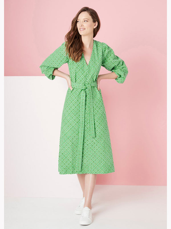ALBANY DRESS | Green Embroided
