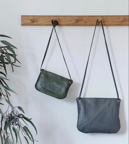Bahru Florence Leather crossbody Bag in grey