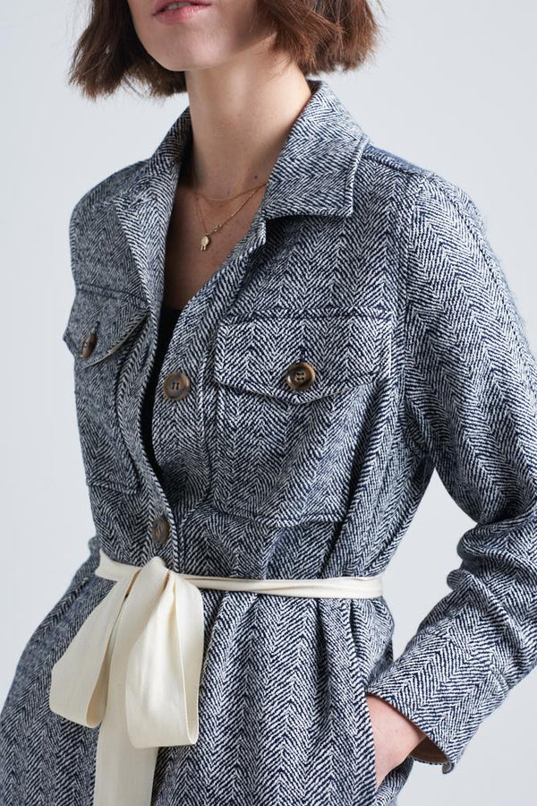 CLEMENCE HERRINGBONE SHIRT JACKET | Le Stripe