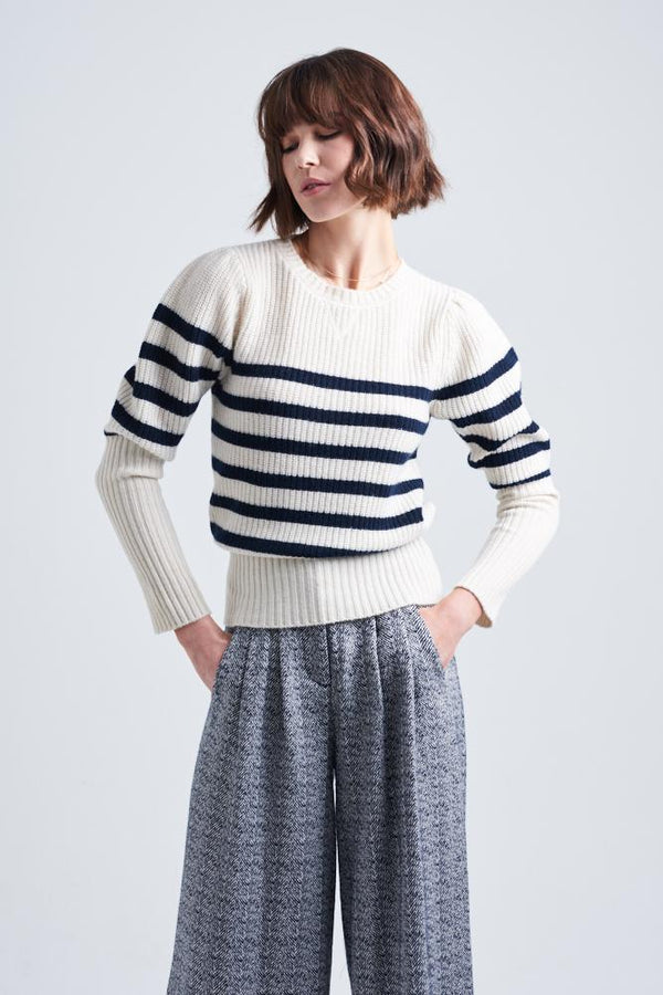 COCO CASHMERE BATEAU SWEATER | Cream | Le Stripe