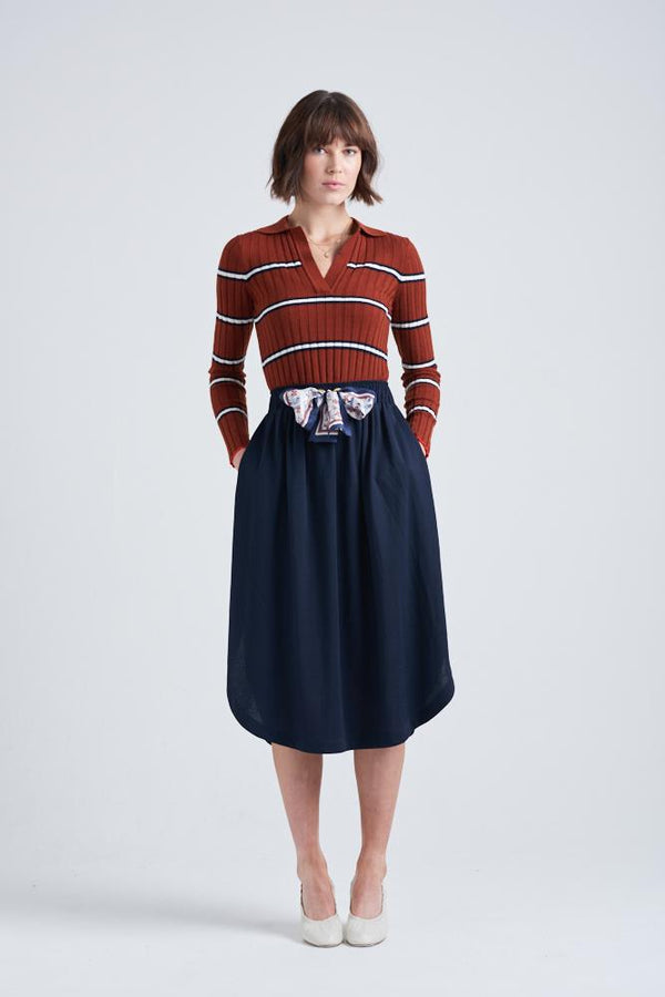 LA BOHEME EASY KNIT SKIRT | Navy | Le Stripe