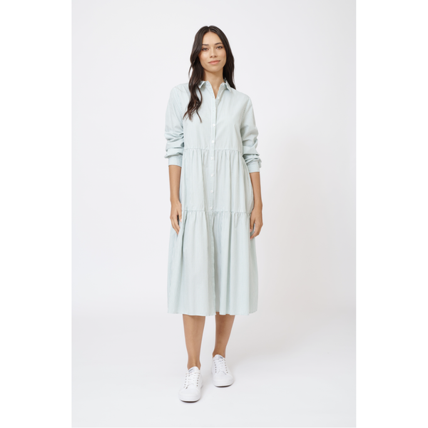 Alessandra Stripe Cotton Hazel Dress in sage green