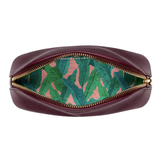 Fenella Smith Vegan Leather Oyster Cosmetic Case in Burgundy