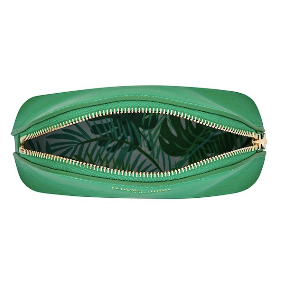 Fenella Smith Vegan Leather Oyster Cosmetic Bag in green