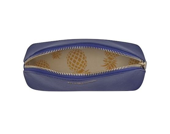Fenella Smith Vegan Leather Oyster Cosmetic Bag in navy