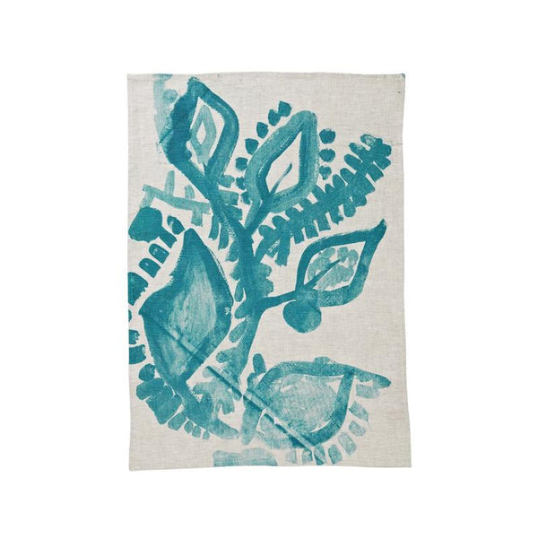 Bonnie and Neil Tea Towel Abstract Floral in green