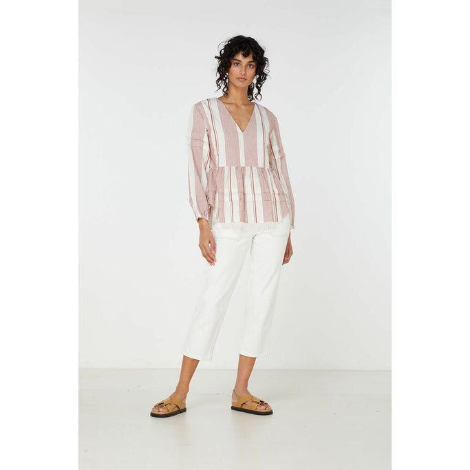 Elka Collective Adele Shirt in Rust Stripe