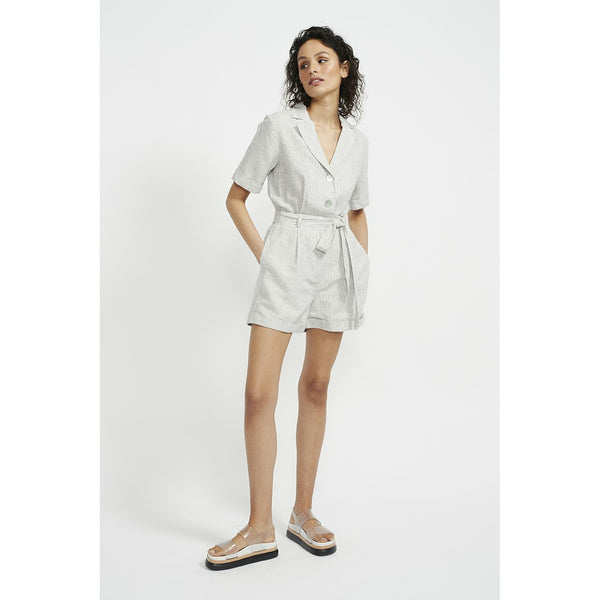 Staple The Label Adrift Playsuit in white and navy stripe