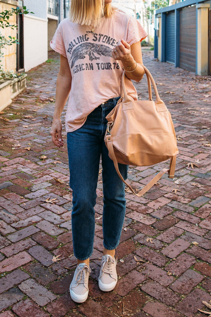Bahru Paris leather tote bag blush