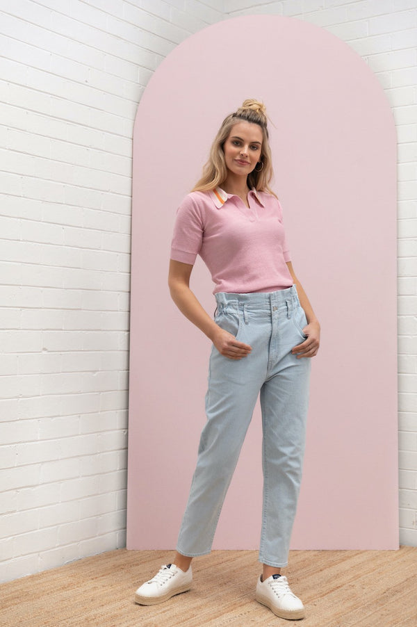 LUREX POLO KNIT | Pale Rose | Bande Studio