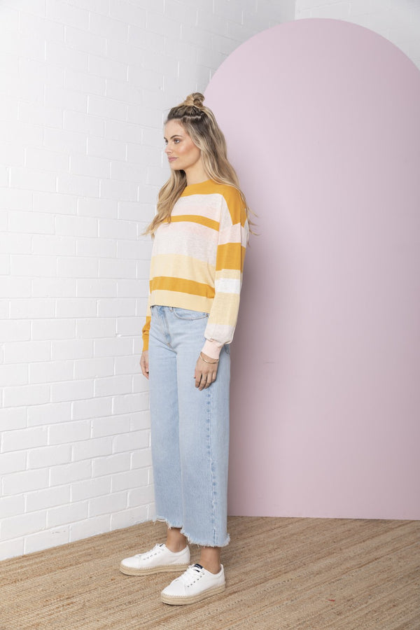 LINEN STRIPE CREW NECK | Toffee | Bande Studio