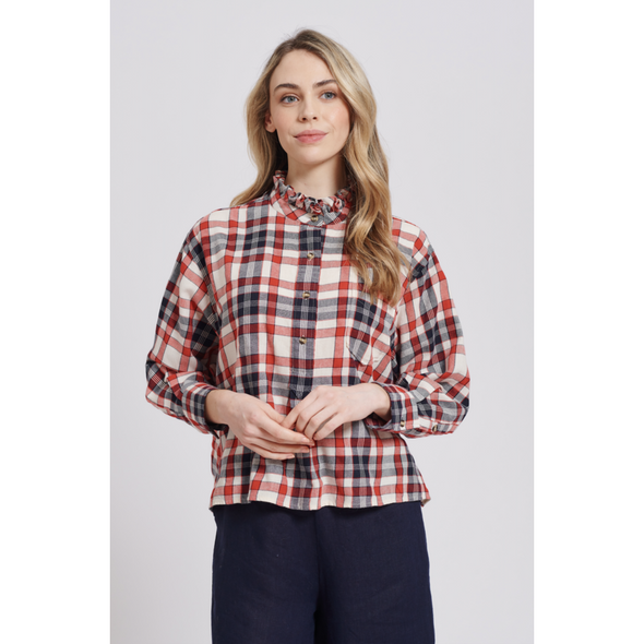 Alessandra Bella Shirt in navy and red