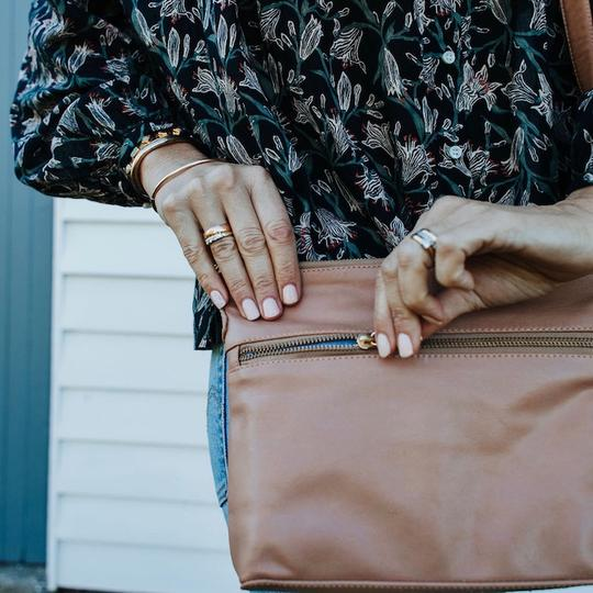 Bahru Leather Mini Rome bag in blush