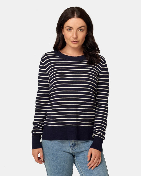Maxted Clothing Fine Gauge Crew in navy Bretton stripe