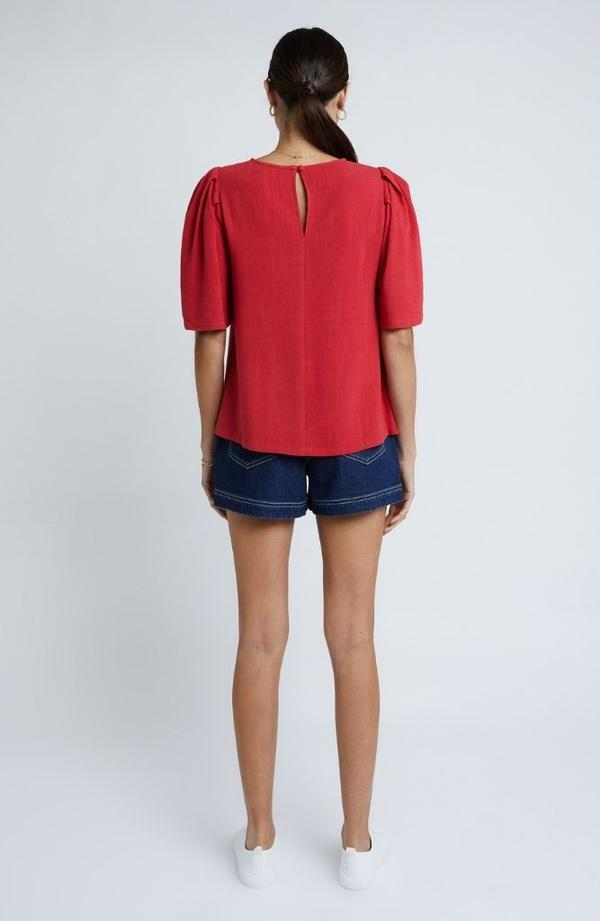 Staple the Label Camille Blouse in red
