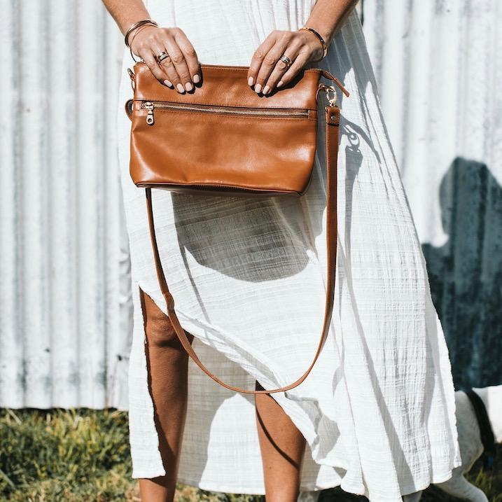 Bahru Leather Mini Rome Bag in caramel