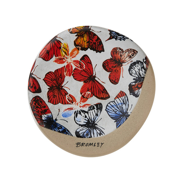 Robert Gordon x Bromley Co coaster with red butterflies