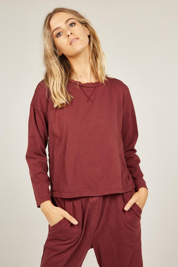 Primness Cozy Track top in merlot