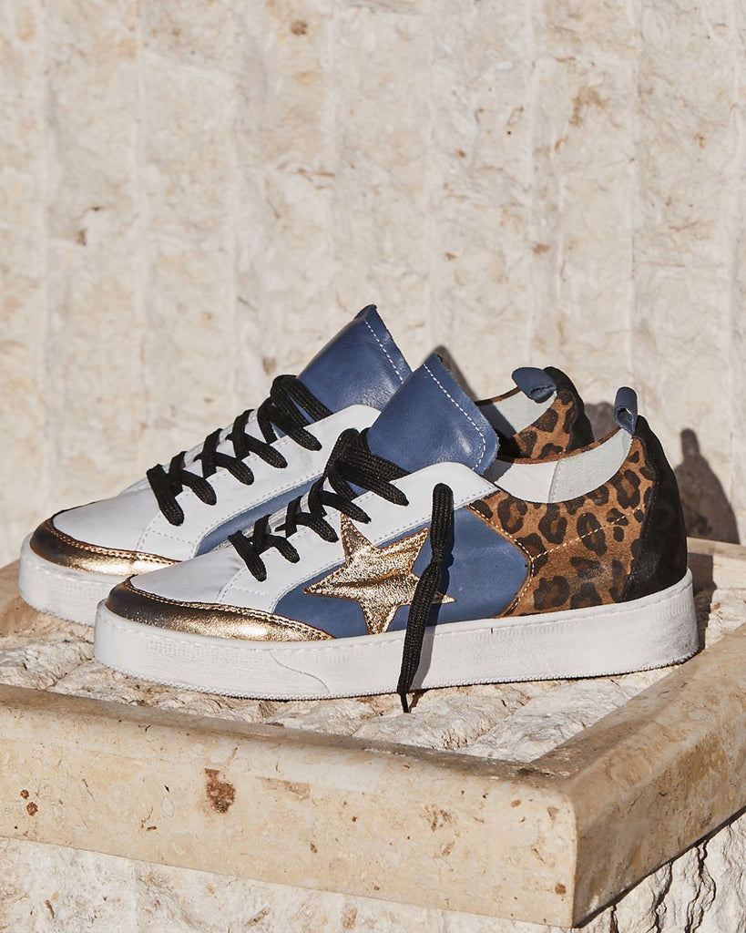 Zoe Kratzmann Eclipse Sneaker | Leopard print, blue and gold leather with gold star