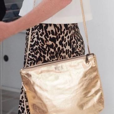 Bahru Florence Leather crossbody Bag in gold