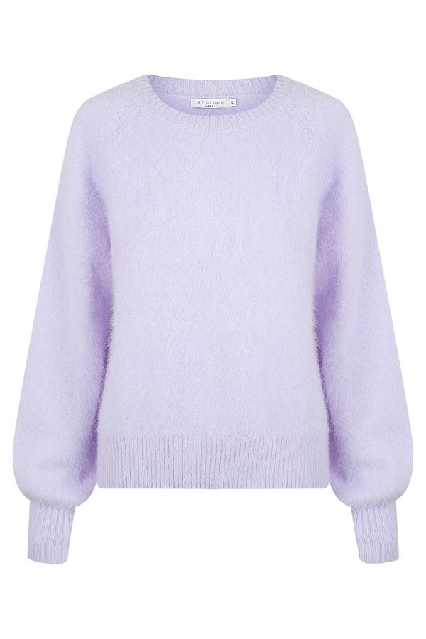St Cloud Fluffy Crew Knit Pullover in lavender