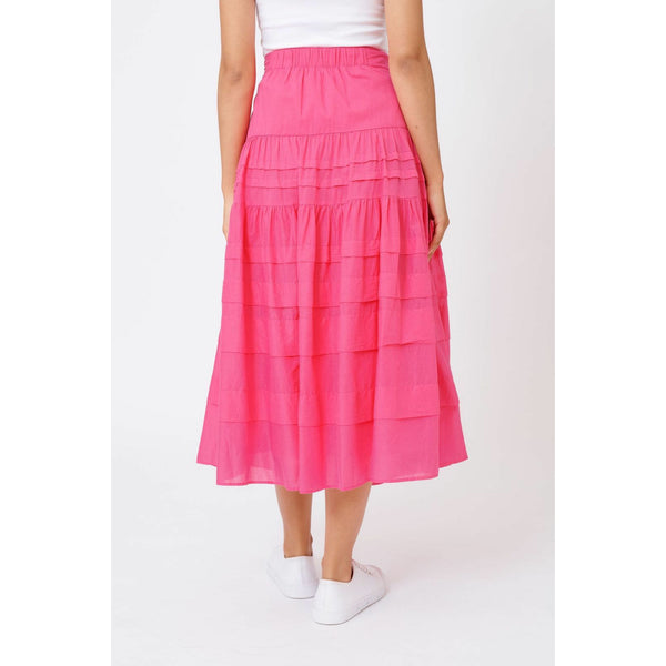Alessandra Freesia Cotton Skirt in lipstick pink