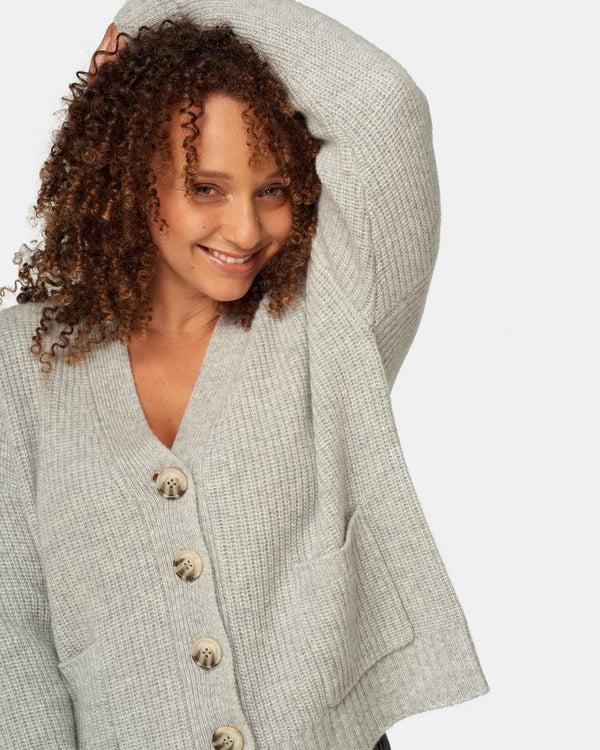 Maxted Clothing Grandpa Cardigan in light grey marle