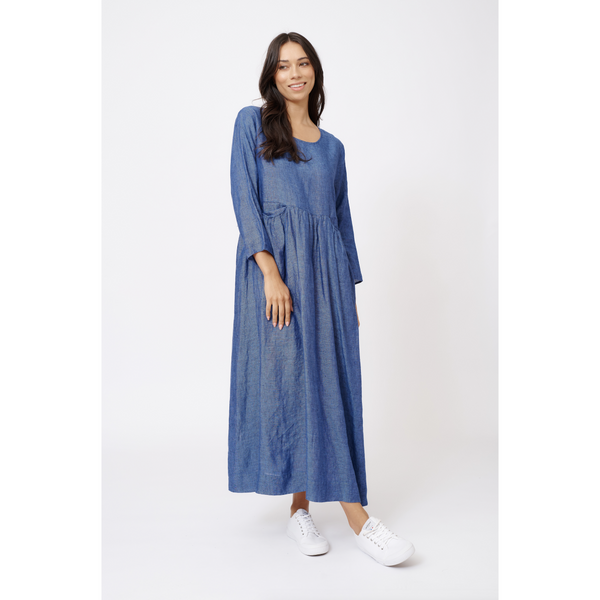 Alessandra Jess Linen Dress in Denim Blue
