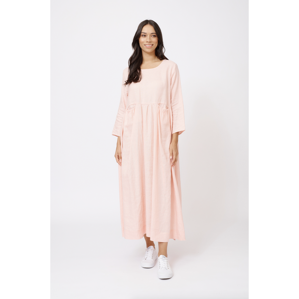 Alessandra Jess Linen Dress in Dusty Pink