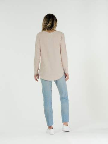 Cle The Label Layla long sleeve organic cotton tee in blush