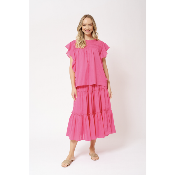 Alessandra Loreta Cotton Voile Top in Lipstick Pink