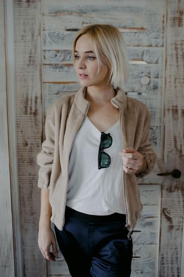 Fauxmance My Lucky Star Bomber Jacket in camel