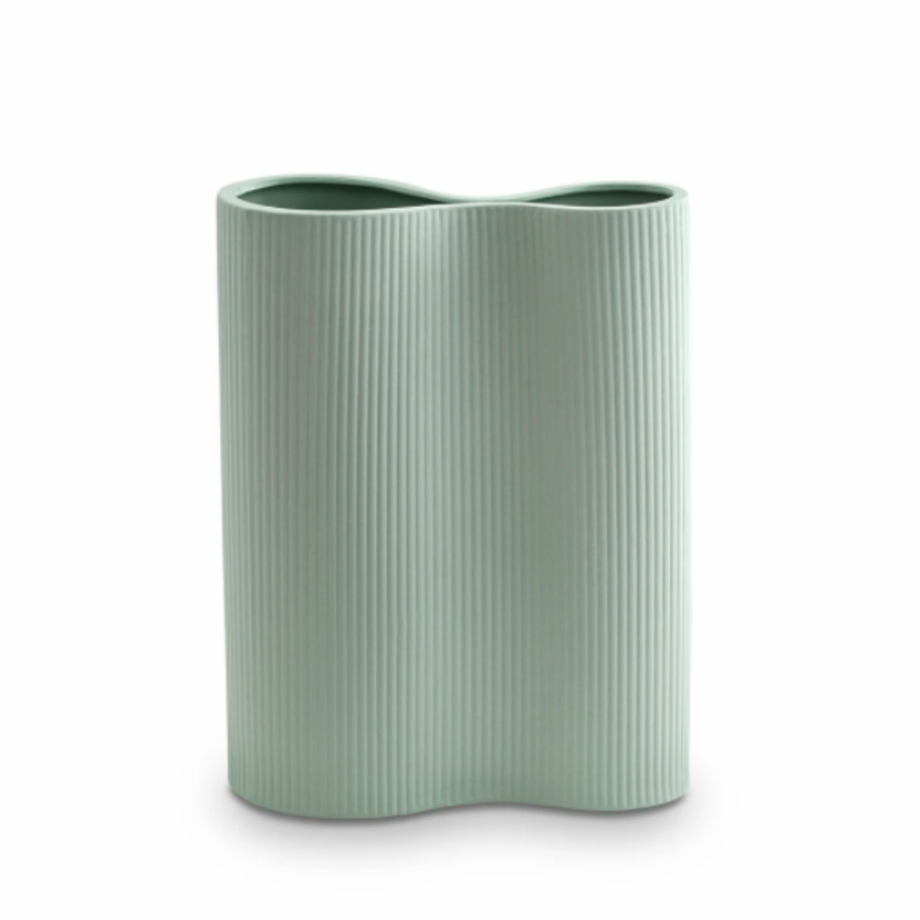 RIBBED INFINITY VASE M | Blue
