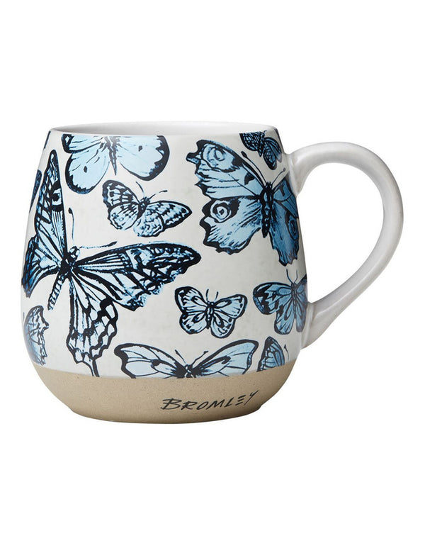 Robert Gordon x Bromley Co hug me mug with blue butterflies