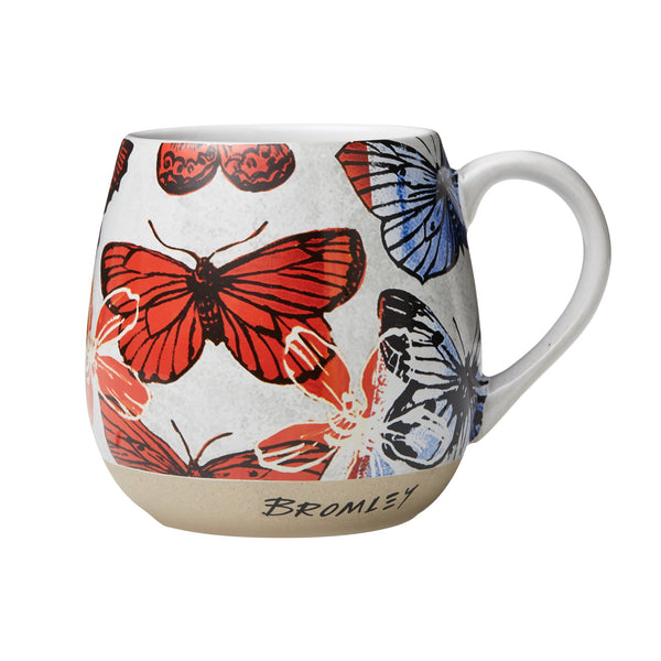 Robert Gordon x Bromley Co hug me mug with red butterflies